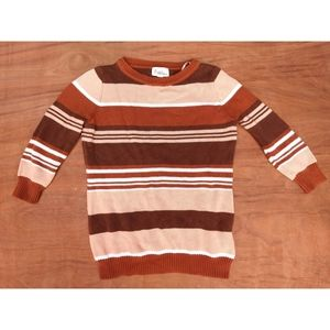 Forever 21 retro brown striped 3/4 sleeve sweater